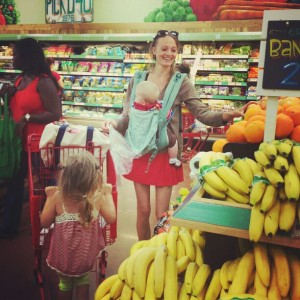 Margrieta shopping with children