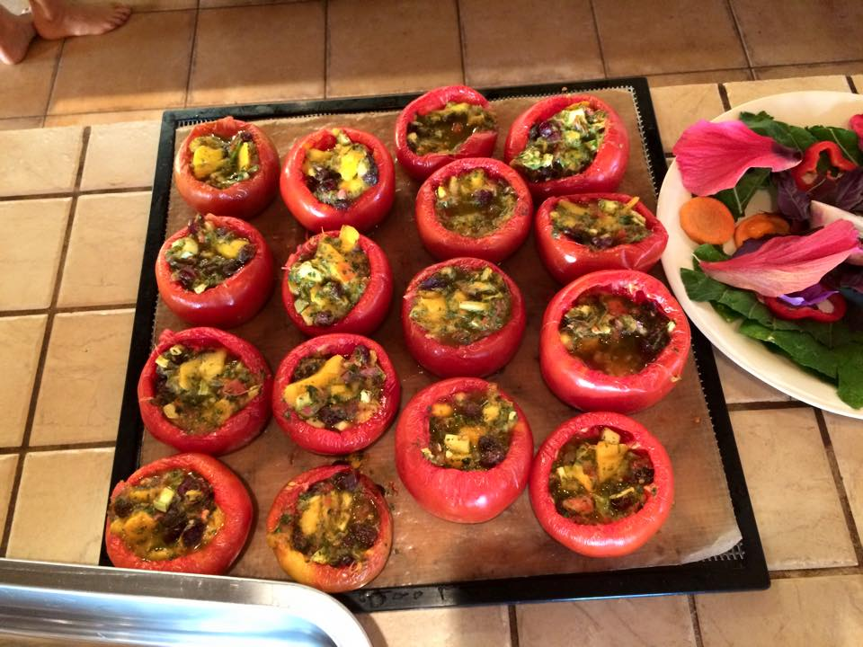 Stuffed tomatoes served at the Love Raw Food retreat