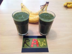 Green Smoothie with Rainbow Chard, Blueberries, Bananas, Frozen Banana, and Frozen Mango_edit